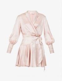 ZIMMERMANN Ruffled silk-charmeuse mini wrap-dress in Petal Pink