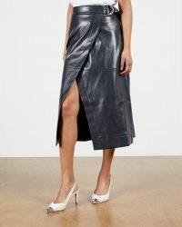 TED BAKER ELII A Line Wrap Skirt – navy blue faux leather skirts