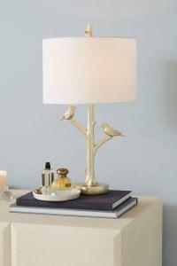 ANTHROPOLOGIE Winsome Woodland Lamp Ensemble ~ bird table lamps ~ birds ~ homeware
