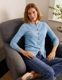 BODEN Abercorn Scallop Cardigan / blue scalloped neck cardigans