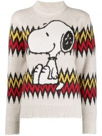 Alanui Snoopy knitted jumper – dog pattern jumpers – cute animal patterns – dogs on knitwear