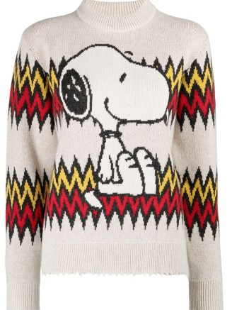 Alanui Snoopy knitted jumper – dog pattern jumpers – cute animal patterns – dogs on knitwear - flipped