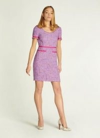 L.K. BENNETT ALBERS LILAC TWEED SHIFT DRESS ~ short sleeve textured dresses with frayed edges