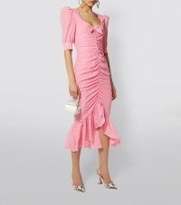 ALESSANDRA RICH Silk Polka-Dot Dress ~ pink front ruched frill hem dresses