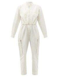 STELLA MCCARTNEY Alessia zipped-pocket twill jumpsuit | cotton utility jumpsuits | zip detail