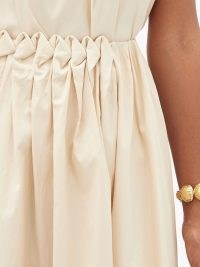 ROKSANDA Allegra smocked-waist cotton-poplin midi skirt ~ cream gathered detail skirts