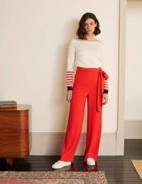 BODEN Allendale Trousers – Cherry Red / bright tie waist pants