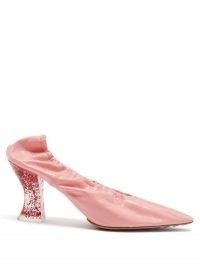 BOTTEGA VENETA Almond glitter-heel elasticated pink leather pumps