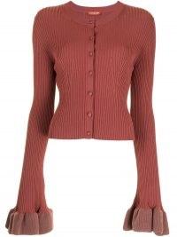 Altuzarra ribbed-knit button-fastening draped cuff cardigan