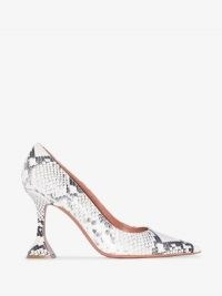 Amina Muaddi White Fiona 95 Snake Print Leather Pumps ~ flared heel courts