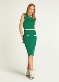 L.K. BENNETT ANGIE GREEN MERINO-COTTON DRESS / sleeveless lightweight knitted dresses