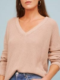 REFORMATION Arber V-Neck Sweater / classic ribbed knit sweaters