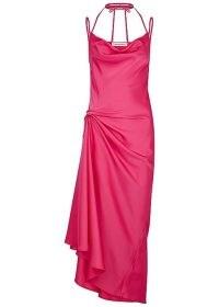 16 ARLINGTON Medina fuchsia satin midi dress ~ bright pink side ruched starppy dresses ~ asymmetric hemline