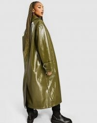 ASOS DESIGN button through vinyl trench coat in olive ~ green longline high-shine coats
