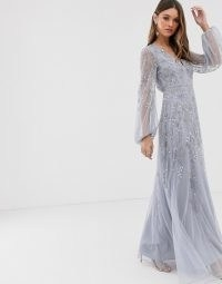 ASOS DESIGN maxi dress with blouson sleeve and delicate floral embellishment in lilac