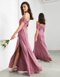 ASOS EDITION satin bardot drape wrap maxi dress in orchid ~ pink off the shoulder bridesmaid dresses