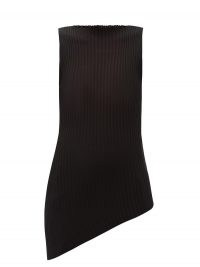 MAISON MARGIELA Asymmetric rib-knitted cotton-blend top ~ black knitted form fitting sleeveless tops