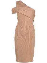 AZ FACTORY MyBody asymmetric wrap dress ~ nude one shoulder bodycon dresses