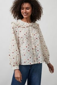 ANTHROPOLOGIE Andrea Ruffled Collar Blouse / floral embroidered blouses / oversized collars