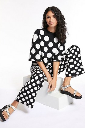 Current Air Miriam Spotted Set Black and White – monochrome spot print top and trouser sets - flipped