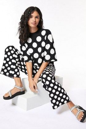 Current Air Miriam Spotted Set Black and White – monochrome spot print top and trouser sets