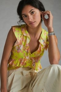 Maeve Ashlee Ruffled Blouse ~ yellow sleeveless blouses ~ feminine ruffles ~ floral tops
