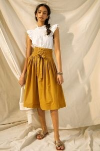 Let Me Be Lynsey Smocked Lace-Up Midi Skirt | high waist skirts