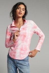 ANTHROPOLOGIE Charley Quarter-Zip Pullover ~ pink tie dye top ~ curved hem tops