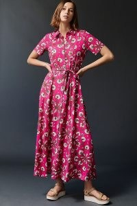 Porridge Vianne Maxi Shirtdress ~ pink pointed collar button down dresses