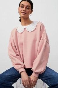 ANTHROPOLOGIE Jessie Frill Collar Sweatshirt ~ pink sweatshirts with oversized broderie anglaise collars