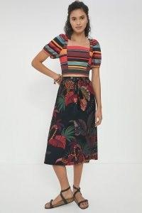 Farm Rio Guadalupe Midi Skirt | tropical prints | bird print skirts