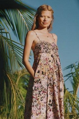 Geisha Designs Jessamyn Printed Midi Dress / skinny strap floral dresses / empire waist - flipped