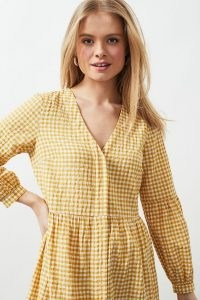 Dot & Cross Gingham Midi Dress Yellow / checked dresses
