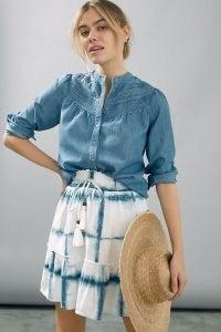 Pilcro Tie-Dye Skater Mini Skirt / flippy hemline skirts