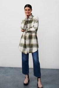 BB Dakota Eldridge Plaid Shirt Jacket / checked shacket / longline curved hem shackets