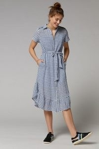ANTHROPOLOGIE Finley Gingham Midi Shirtdress Blue Motif / checked ruffle hem dresses / spring fashion