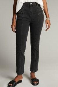 Pilcro Victoria Ultra High-Rise Seamed Straight Jeans   black seam detail denim