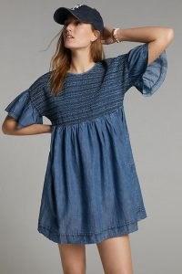Anthropologie Luz Chambray Mini Dress   lightweight denim dresses