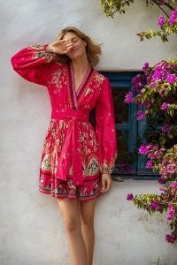 ANTHROPOLOGIE Raquel Embroidered Mini Dress Pink Combo ~ bright wrap front floral dresses for spring and summer