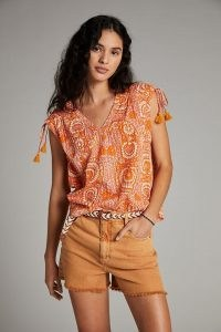 ANTHROPOLOGIE Terra Shirred Blouse in Pink Combo