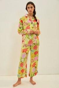 Karen Mabon Florita Pyjama Set in Chartreuse ~ bright floral pyjamas