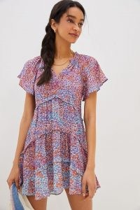 ANTHROPOLOGIE Robin Tiered Mini Dress / floaty floral short sleeve dresses