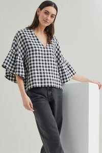 Beaumont Organic Rita-Gee Gingham Linen Blouse / black and white check wide sleeve blouses / monochrome checked V-neck