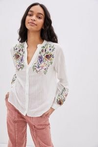 ANTHROPOLOGIE Joanne Embroidered Buttondown / floral summer shirts
