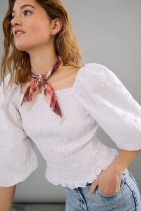 Maeve Bree Smocked Blouse | fitted white balloon sleeve blouses