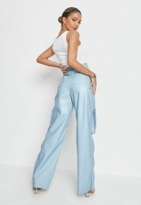 Missguided baby blue faux leather cargo straight trousers – luxe style pants