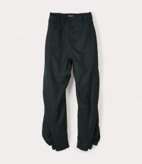 Vivienne Westwood BACK SLIT TROUSERS GREEN | cuff hem pants | drop crotch | edgy fashion