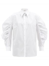 ALEXANDER MCQUEEN Balloon-sleeve cotton-poplin shirt in white ~ wide ruche sleeved shirts
