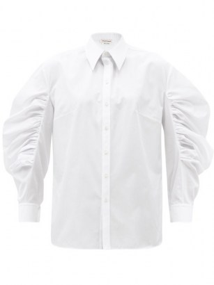 ALEXANDER MCQUEEN Balloon-sleeve cotton-poplin shirt in white ~ wide ruche sleeved shirts - flipped