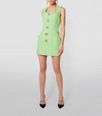 BALMAIN Tweed Embellished-Button Dress in 7fm Vert Pistache ~ pistachio green sleeveless mini ~ textured fabric ~ crystal buttons
